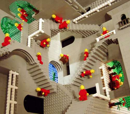 lego recreation of Escher's relativity