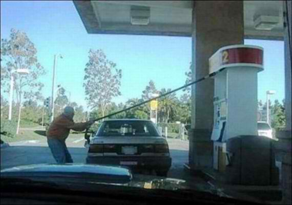 Old man fueling car wrong side fail