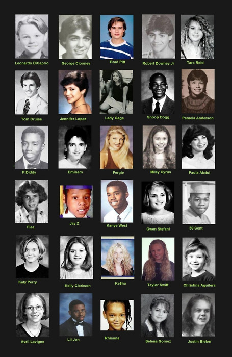 Yearbook pictures of celebrities Brad Pit Kesha Lady Gaga